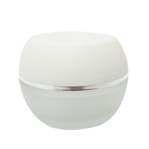 白色蓋銀邊圓形面霜盒